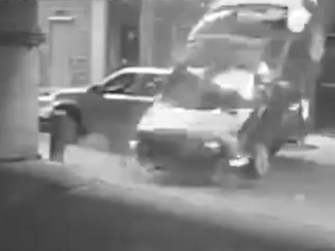 car falls off the seventh floor of a parking garage