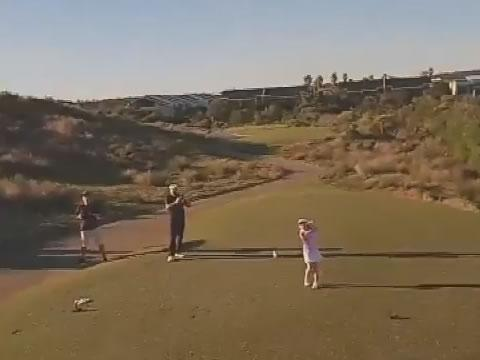 Girl Hits Golf Ball Into Drone