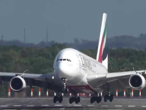 Emirates A380 Crosswind Landing During A Storm