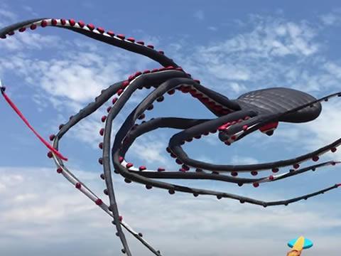 Giant octopus kite flying