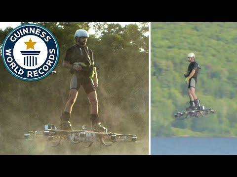 Man sets Guinness World Record for farthest hoverboard flight