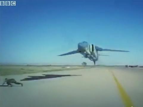 Libya jet skims heads
