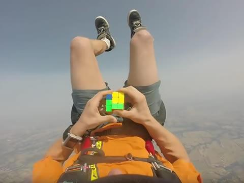 Rubik's cube solved in free fall