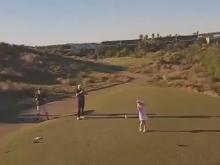 Girl Hits Golf Ball Into Drone